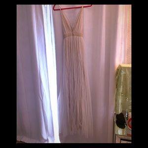Beach Wedding cream white lace maxi gown S